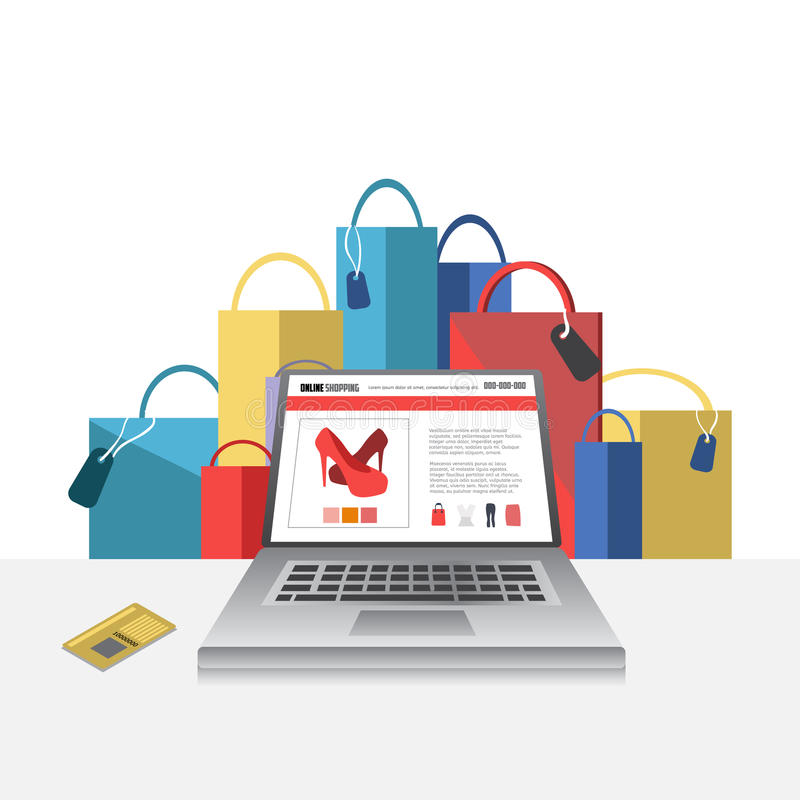 Online shopping concept illustration with laptop vector illustration