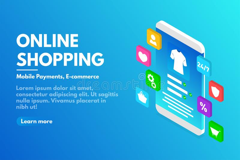 Online shopping concept. Isometric smartphone with user interface. E-commerce and online store concept. Landing page template of online shopping in isometric vector illustration