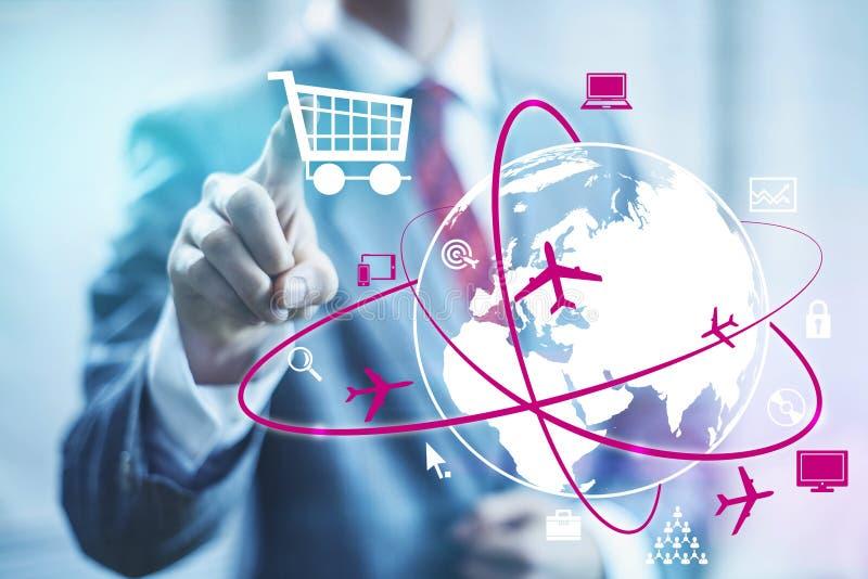 Online shopping. Concept man selecting shopping cart