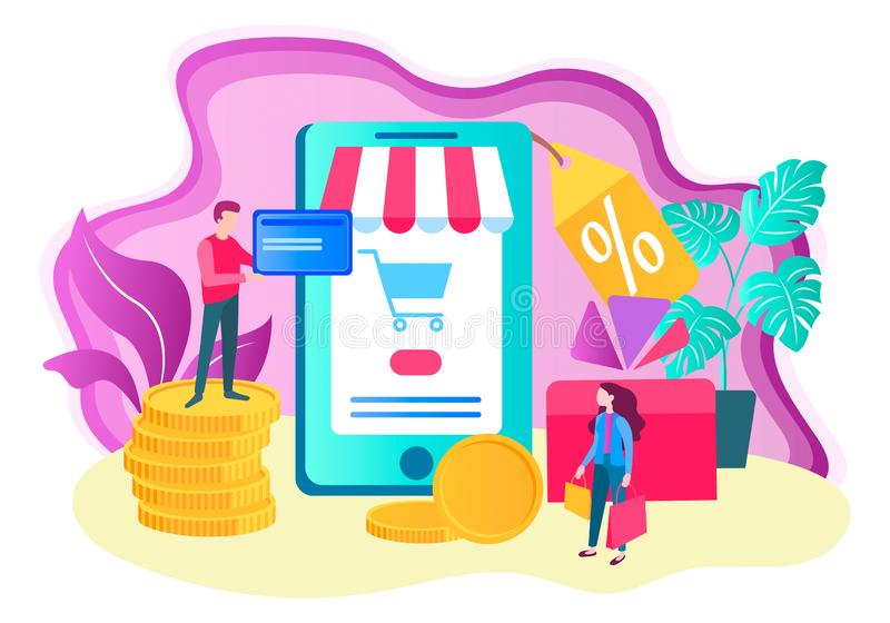 Online shopping concept, mobile application for online store, di. Scount and gifts for customers. Vector illustration for web design, advertising posters stock illustration