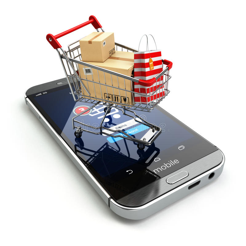 Online shopping concept. Mobile phone or smartphone with cart an. D boxes and bag. 3d vector illustration