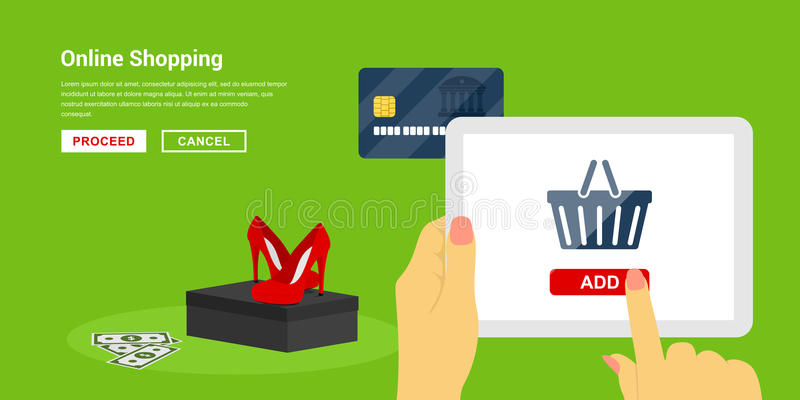 Online shopping concept. Picture of human hands holding tablet with basket icon on its screen and a shoes pair on background, flat style banner design, online vector illustration