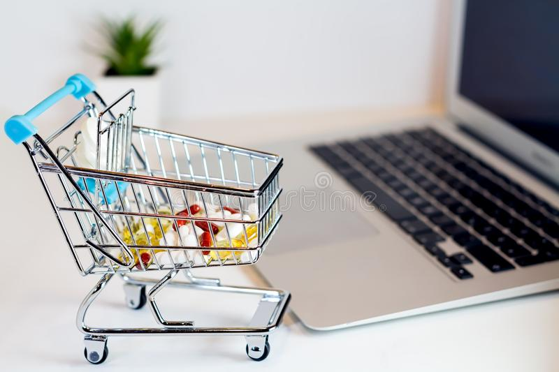 Online shopping concept pills royalty free stock photo