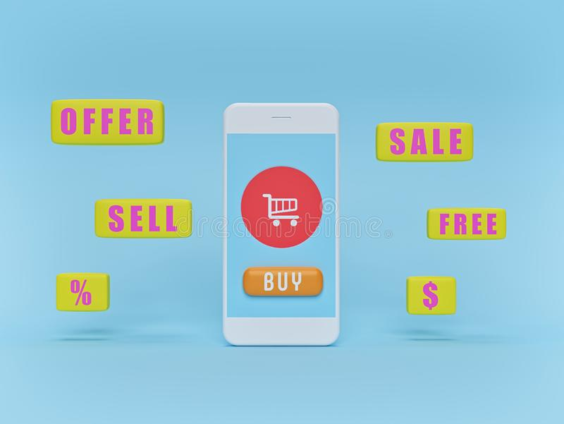 Online shopping concept with a smartphone and shop icons. advertising poster, banner. 3d rendering royalty free illustration