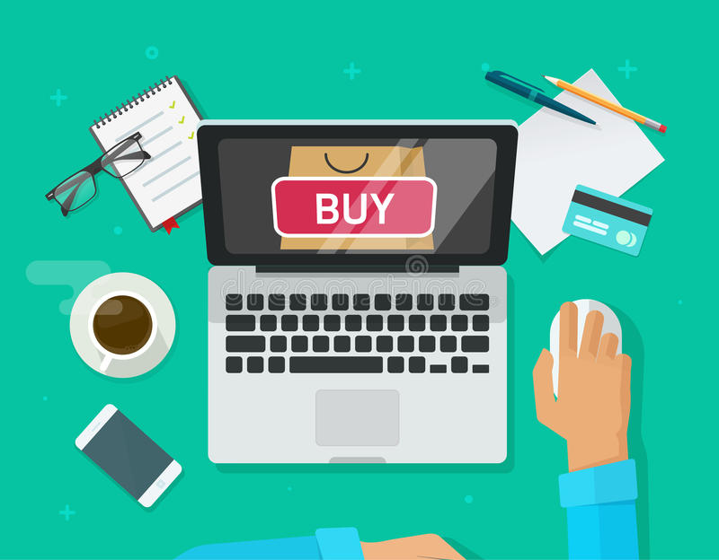 Online shopping concept vector, flat style laptop computer and customer person buying from ecommerce internet store. Online shopping concept vector illustration stock illustration