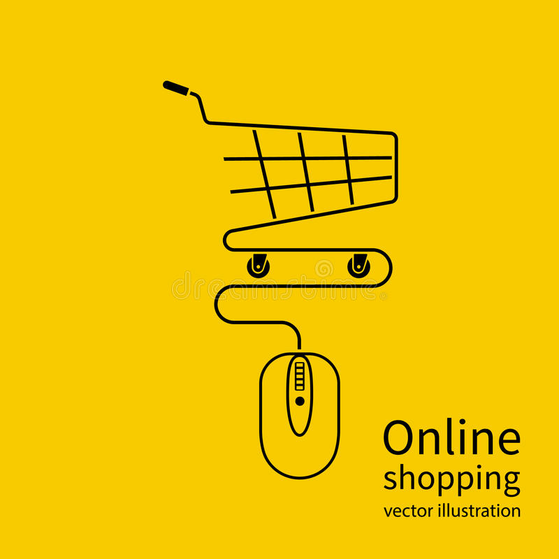 Online shopping concept. Vector illustration minimal design. Computer mouse connect to the shopping basket. Modern technology e-shopping. Purchases in internet royalty free illustration