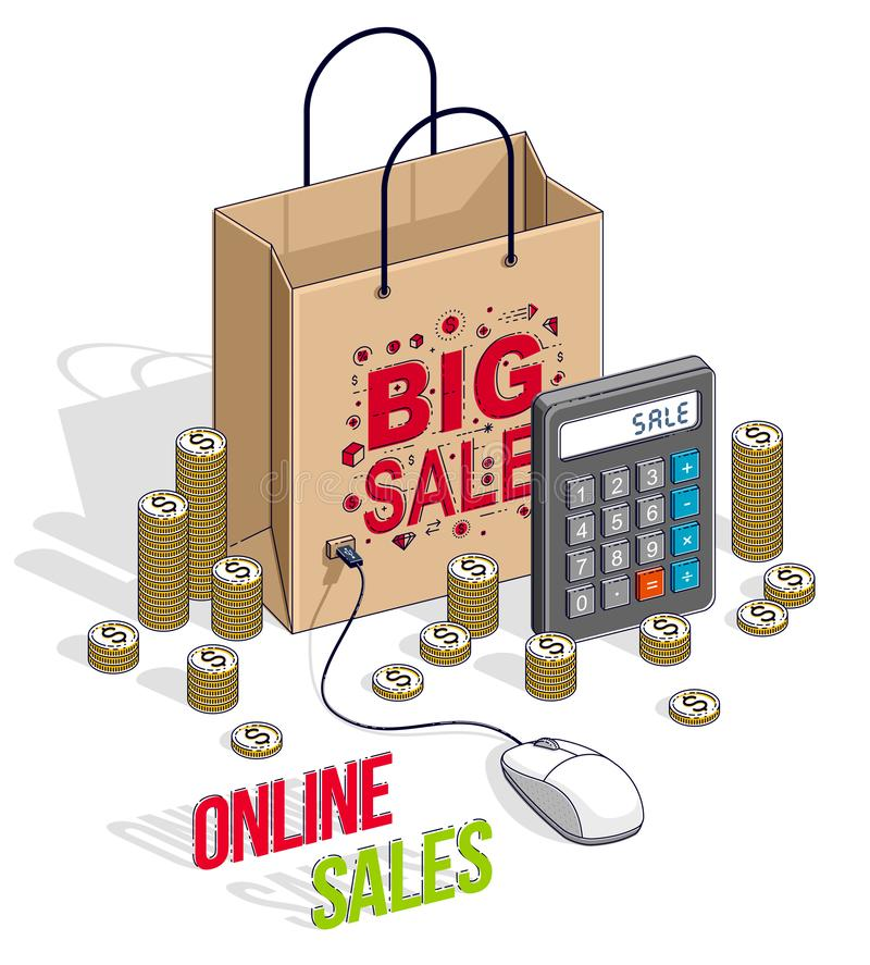 Online Shopping concept, web store, internet sales, Shop bag with pc mouse and cash money stacks and calculator isolated. Vector. 3d isometric business and vector illustration