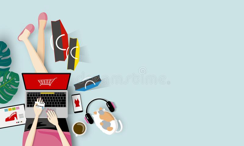 Online shopping concept. Of woman holding credit card and using laptop computer vector illustration stock illustration