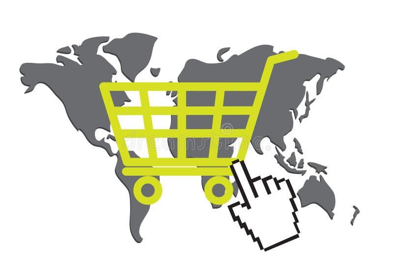 Online shopping concept. World map, shopping basket and hand cursor as online shopping concept vector illustration