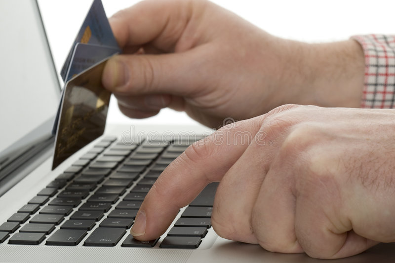 Online shopping with credit card. Via the Internet shop royalty free stock image