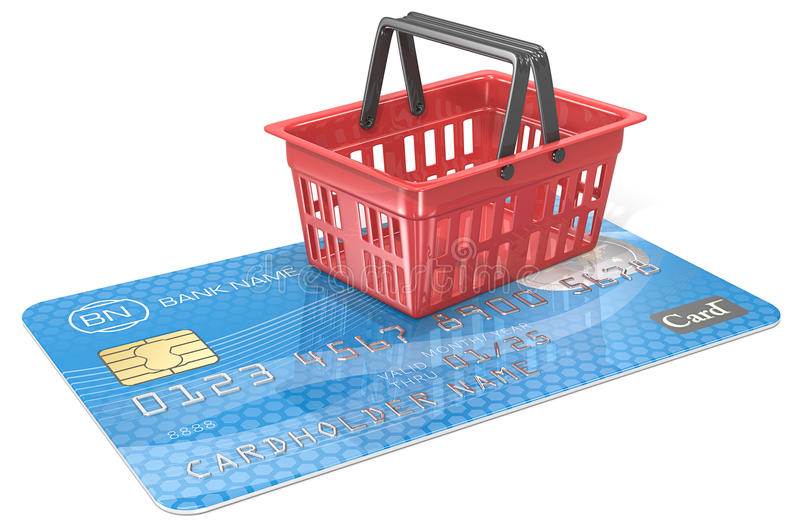 Online Shopping. Credit Card with Shopping Basket. Blue and red. Generic name,numbers and logo stock illustration
