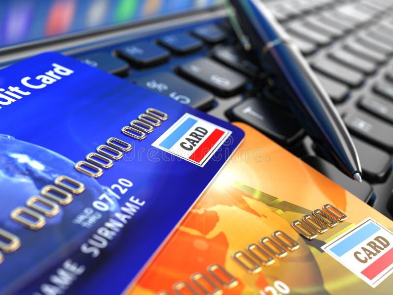 Online shopping. Credit card on laptop keyboard. E-commerce. 3d stock illustration