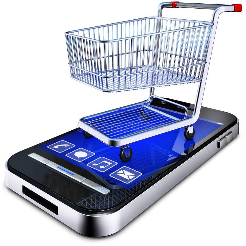 Online shopping. 3D illustration of a online shopping concept stock illustration