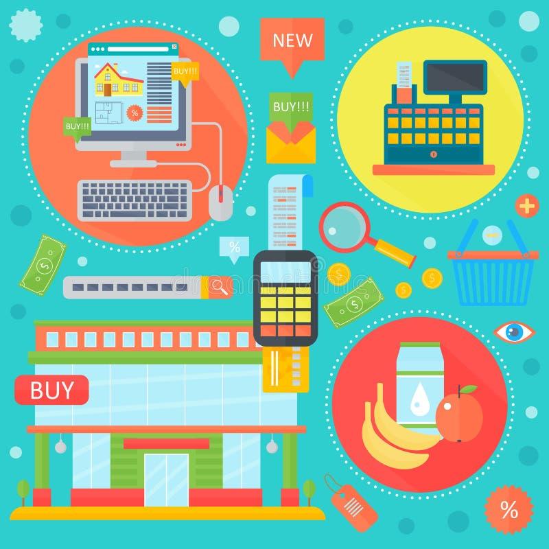 Online-shopping, den mobila marknadsföringen och digitala symboler för marknadsföringsinfographicsmall i cirklar planlägger, reng stock illustrationer