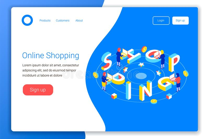 Online shopping design concept. Shopping 3d word lettering typography with ladies, computers and coins. Flat 3d isometric style. Landing page template. Vector vector illustration