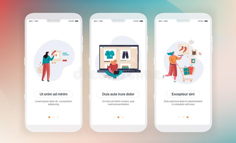 Online shopping. Design of mobile application intro screens. Application templates concept Vector onboarding flat royalty free illustration