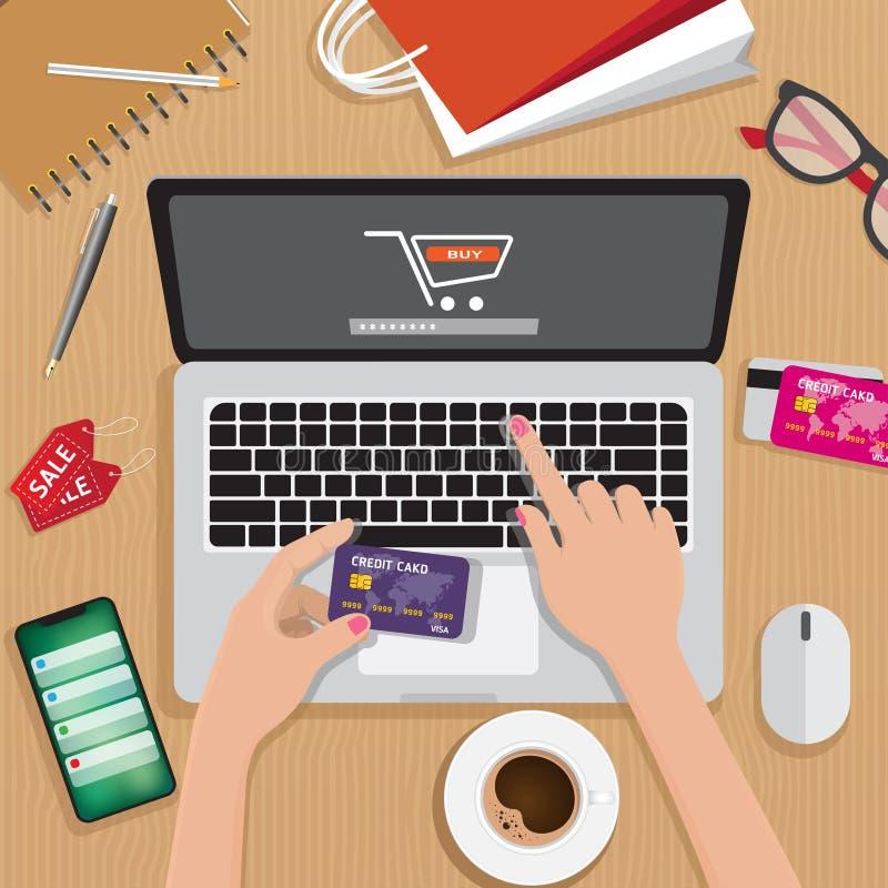 Online-shopping-, e-betalning, detaljhandel- och leveransbegrepp, bärbar dator med shoppingvagnen på mitten stock illustrationer