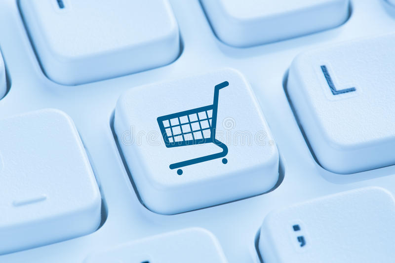 Online shopping e-commerce ecommerce internet shop concept blue royalty free stock photo