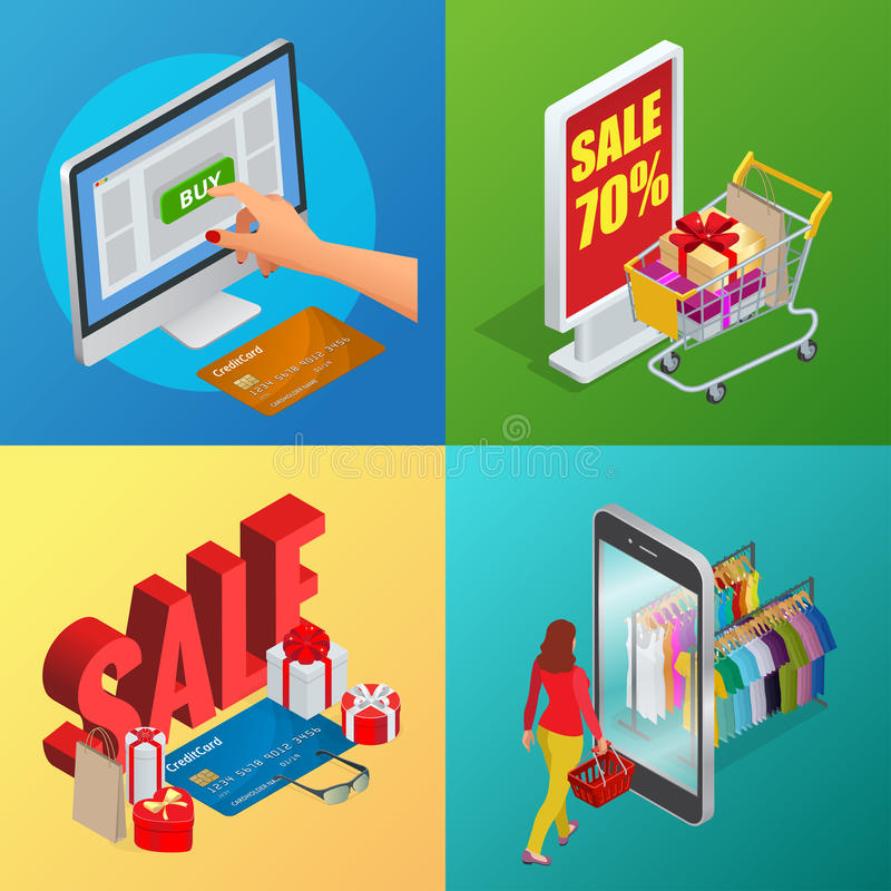 Online shopping, e-commerce, 24 hours customer support service concept with payment options. Flat isometric infographic. Banners vector illustration royalty free illustration
