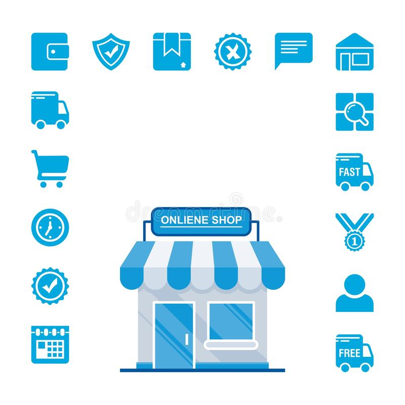 Online shopping e-commerce icons set with Blue Color 库存例证