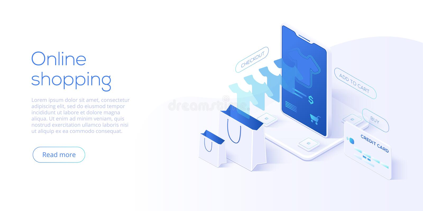 Online shopping or e-commerce isometric vector illustration. Int. Ernet store checkput procedure concept with smartphone and bag. Credit card payment transaction royalty free illustration