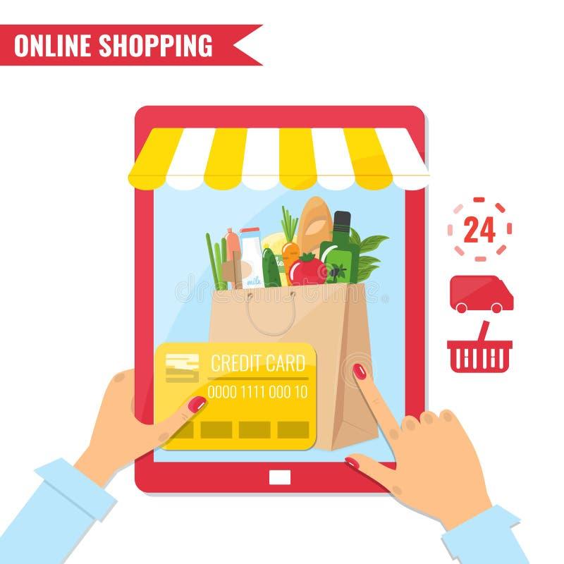 Online-shopping, e-kommers begrepp royaltyfri illustrationer