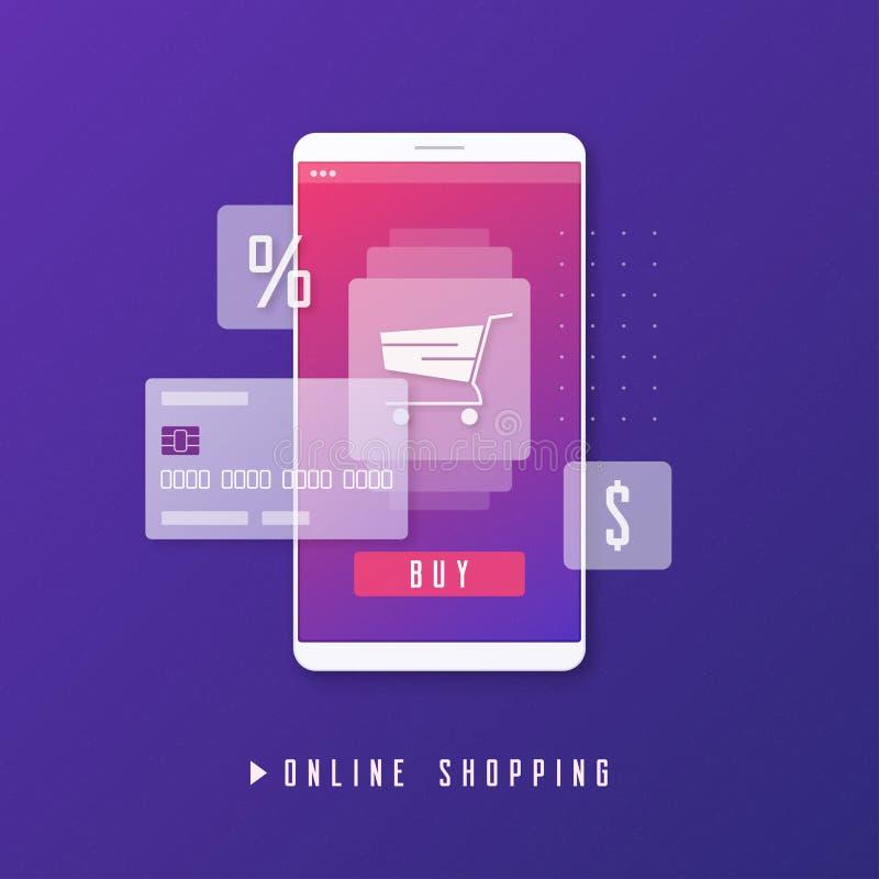 Online-shopping, e-kommers, mobilt betalningbegrepp vektor illustrationer