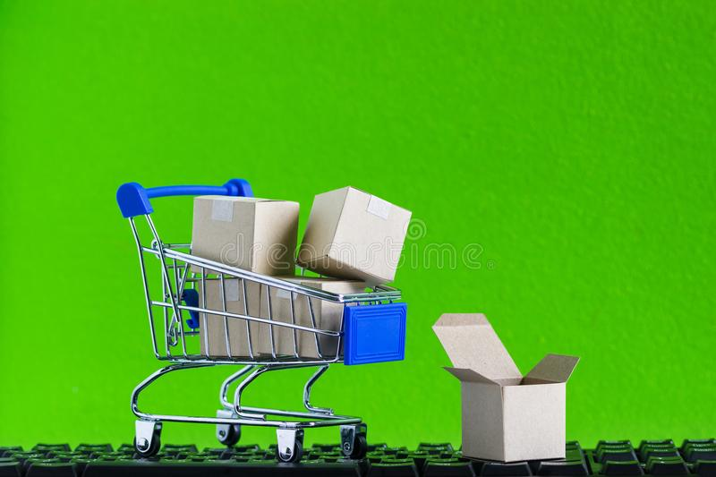 Online shopping, eCommerce or order online concept : Product in royalty free stock images