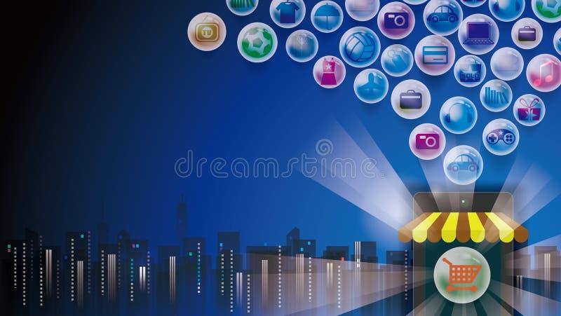 Online shopping eshop. Social media payments royalty free illustration