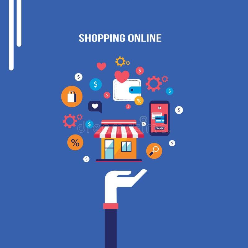 Online-shopping för mobil betalning och e-kommers begrepp vektor illustrationer