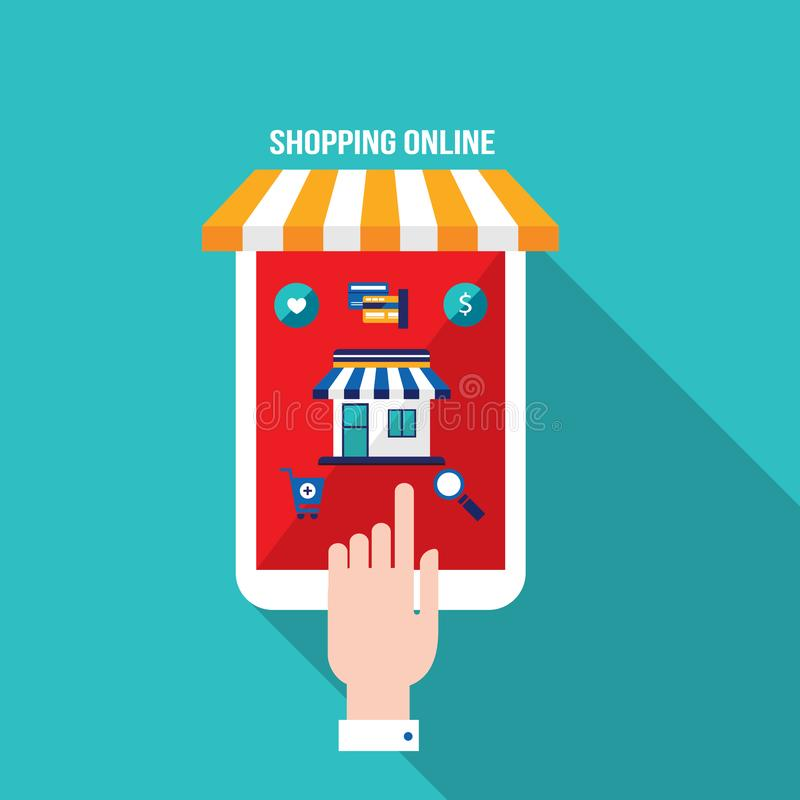 Online-shopping för mobil betalning och e-kommers begrepp stock illustrationer