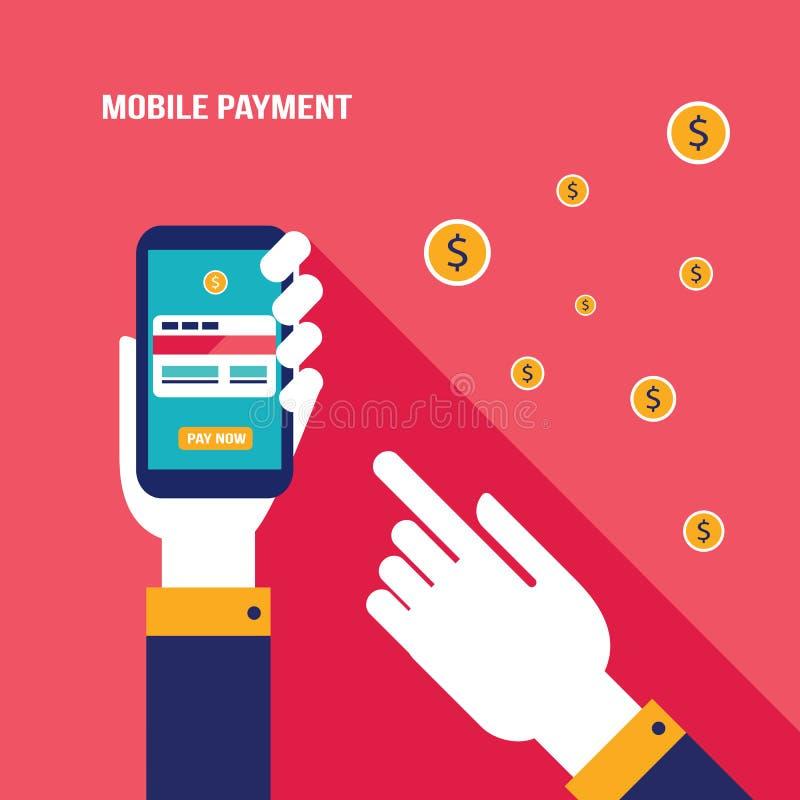 Online-shopping för mobil betalning och e-kommers begrepp royaltyfri illustrationer
