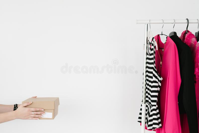 Online shopping fashion clothes delivery shoebox royalty free stock photo