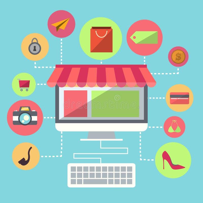 Online Shopping Flat Design Item vector illustration