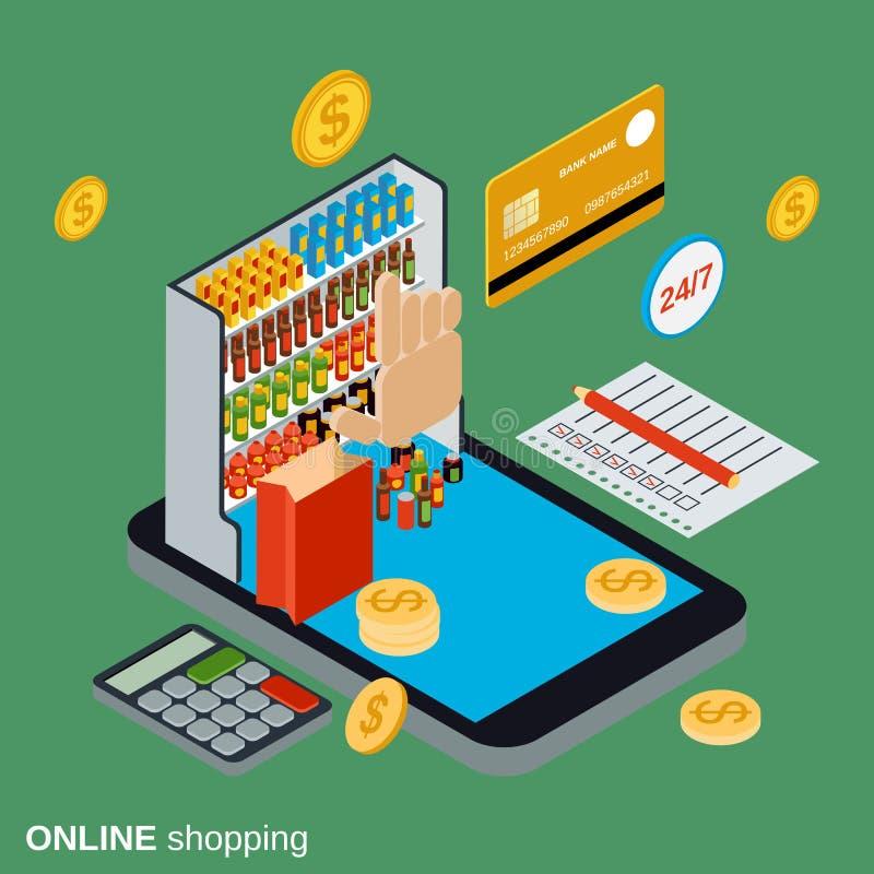 Online shopping flat isometric vector concept stock illustration