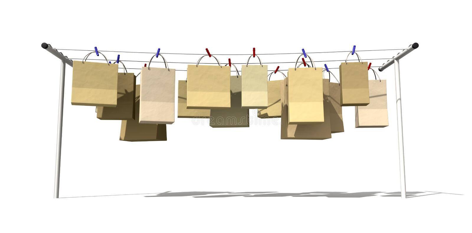 Online Shopping Front View. A literal depiction for the saying online shopping, shopping bags hanging on a wash line vector illustration