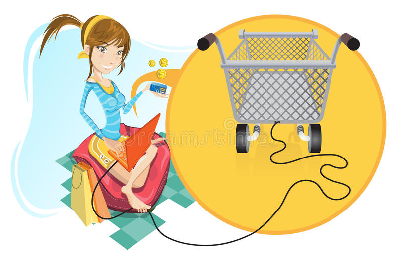 Online Shopping Girl. Illustration Of A Social Networking Girl Make An Online Shopping. Very Useful For Social Media Icon, Illustration And Theme vector illustration