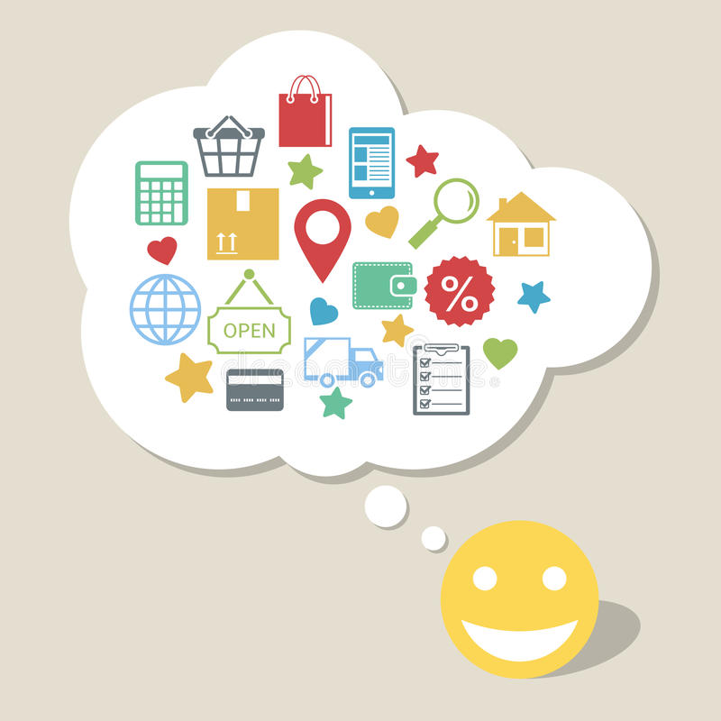 Online shopping with happy satisfied customer. Online shopping innovation idea with happy satisfied customer vector illustration stock illustration