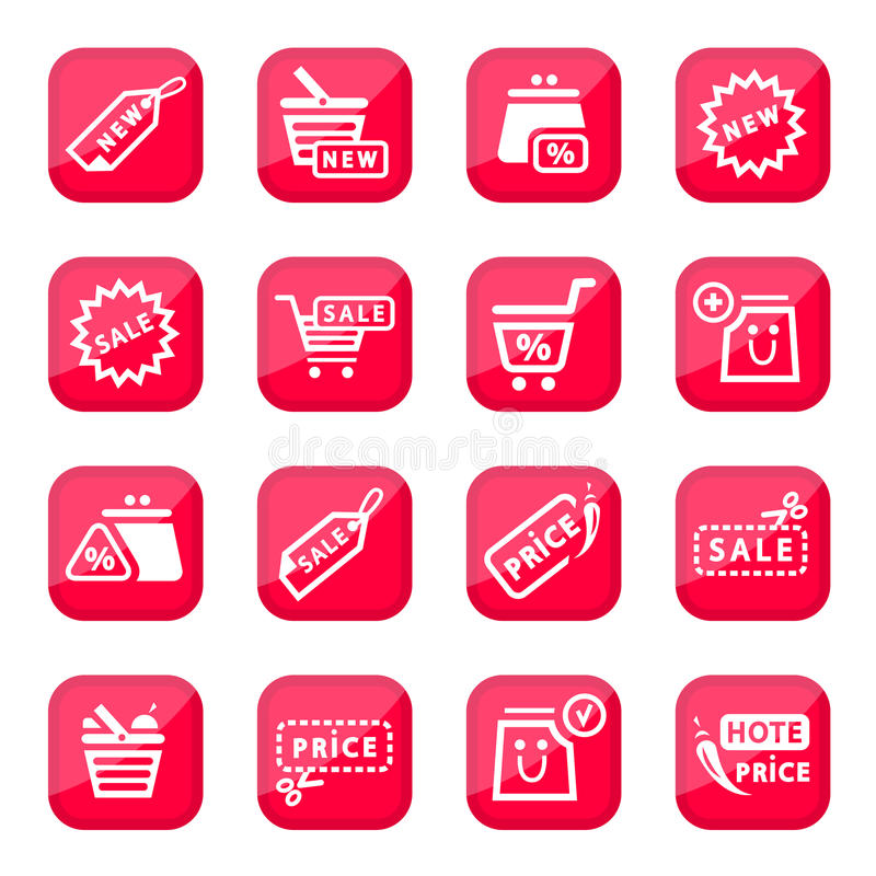 Download Online shopping icon set stock vector. Image of check - 26267918