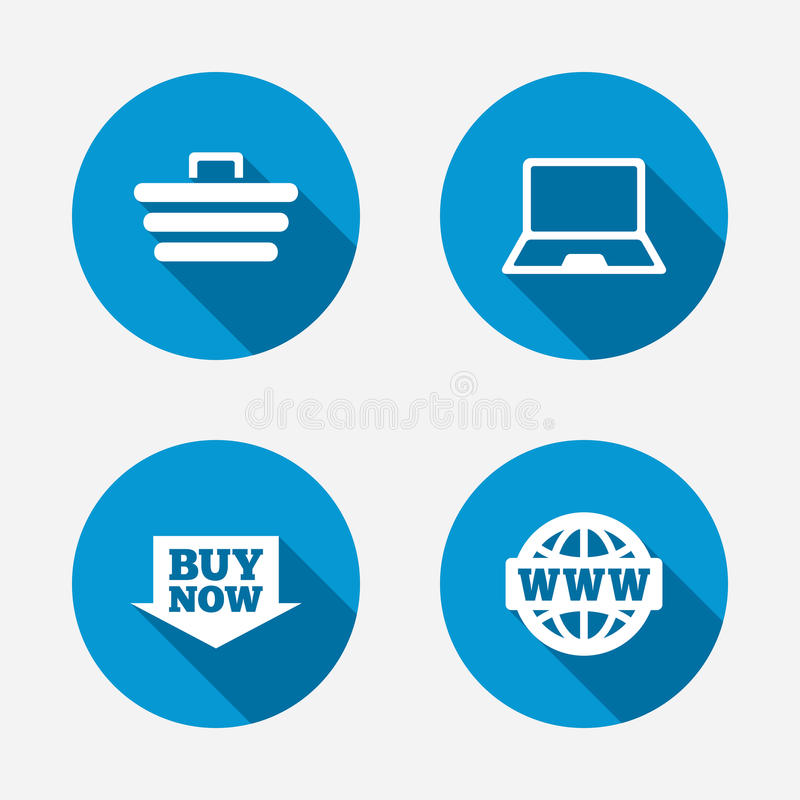 Online Shopping Icons Notebook Pc Cart Buy Stock Vector