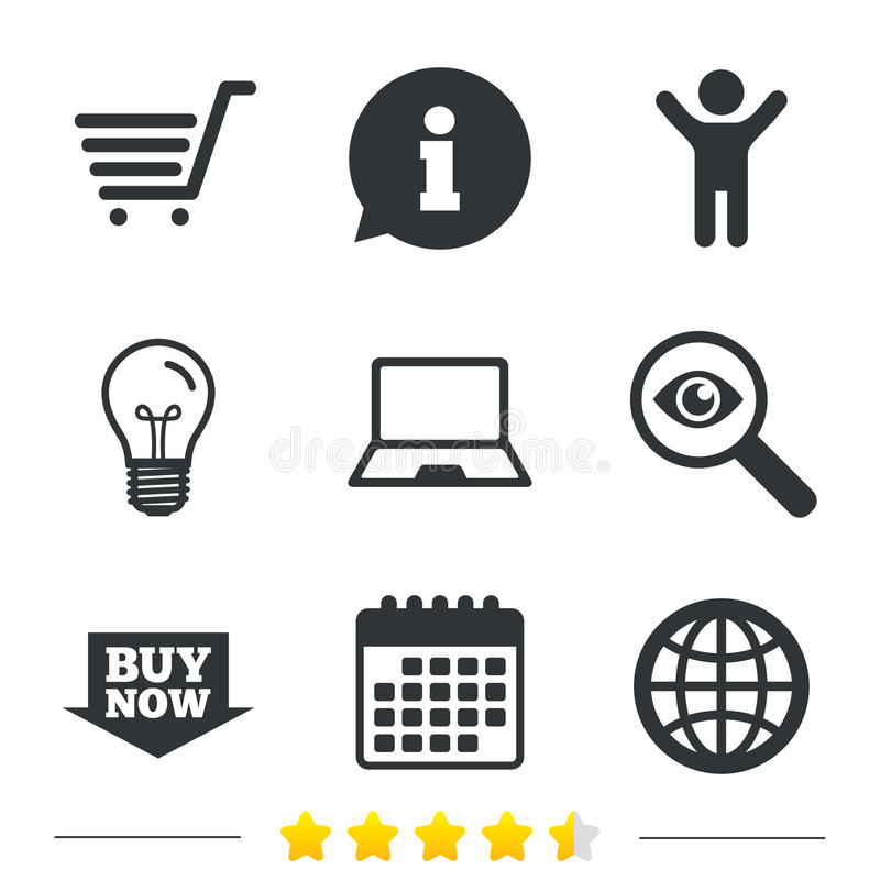 Online shopping icons. Notebook pc, cart, buy. Online shopping icons. Notebook pc, shopping cart, buy now arrow and internet signs. WWW globe symbol vector illustration