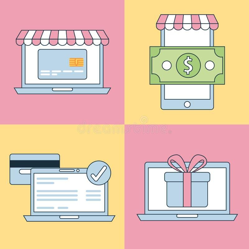 Online shopping icons set 矢量 向量例证