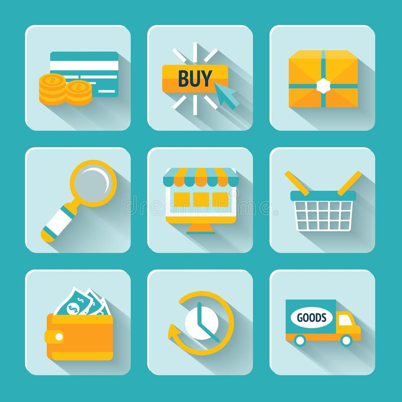 Download Online Shopping Icons Set stock vector. Illustration of flat - 39503093