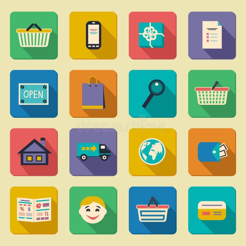 Online shopping icons set vector illustration