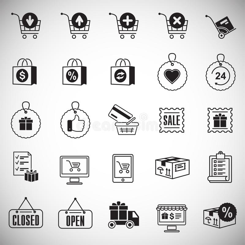 Online shopping icons set on white background for graphic and web design, Modern simple vector sign. Internet concept. Trendy. Symbol for website design web royalty free illustration