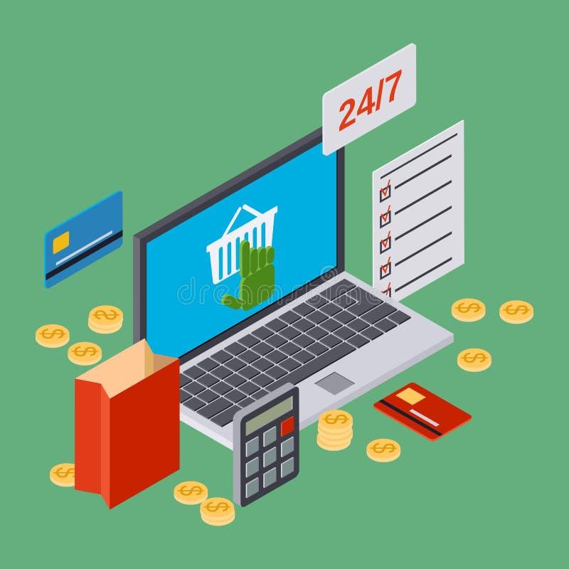 Online shopping, internet trade vector concept. Online shopping, internet trade isometric 3d vector concept illustration royalty free illustration