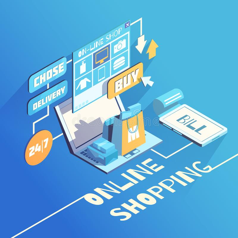 Online Shopping Isometric Composition. Online shopping isomeric 3d flowchart composition with products delivery and secure electronic payment options choice royalty free illustration