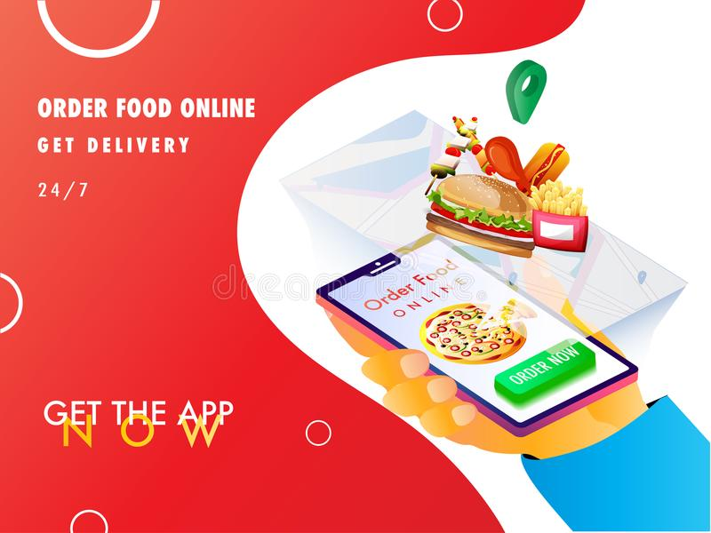 Online shopping, isometric concept, food mobile app open on a sm stock illustration