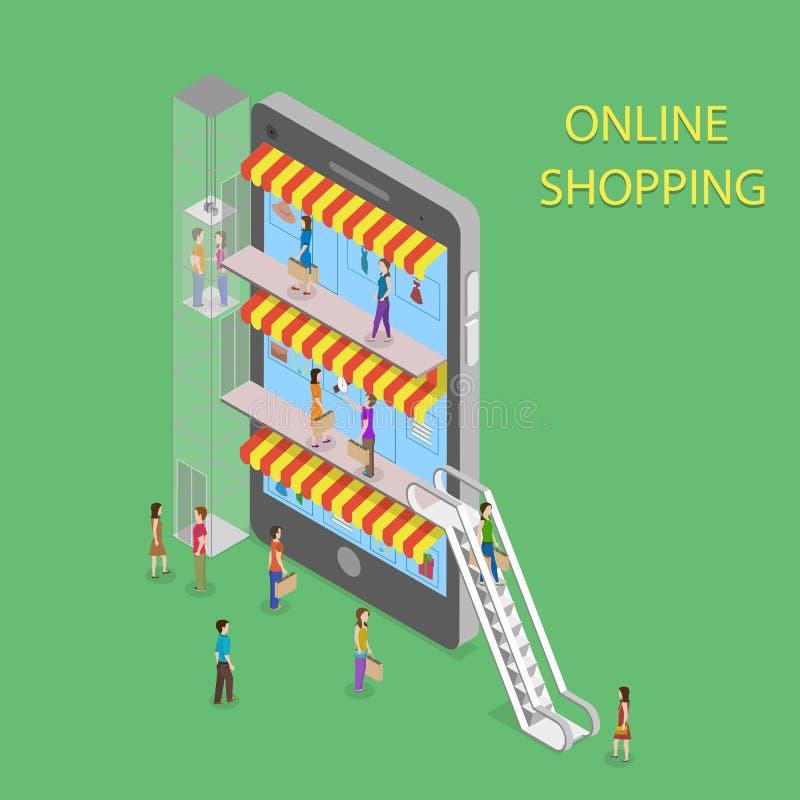 Online Shopping Isometric Concept Illustration. vector illustration