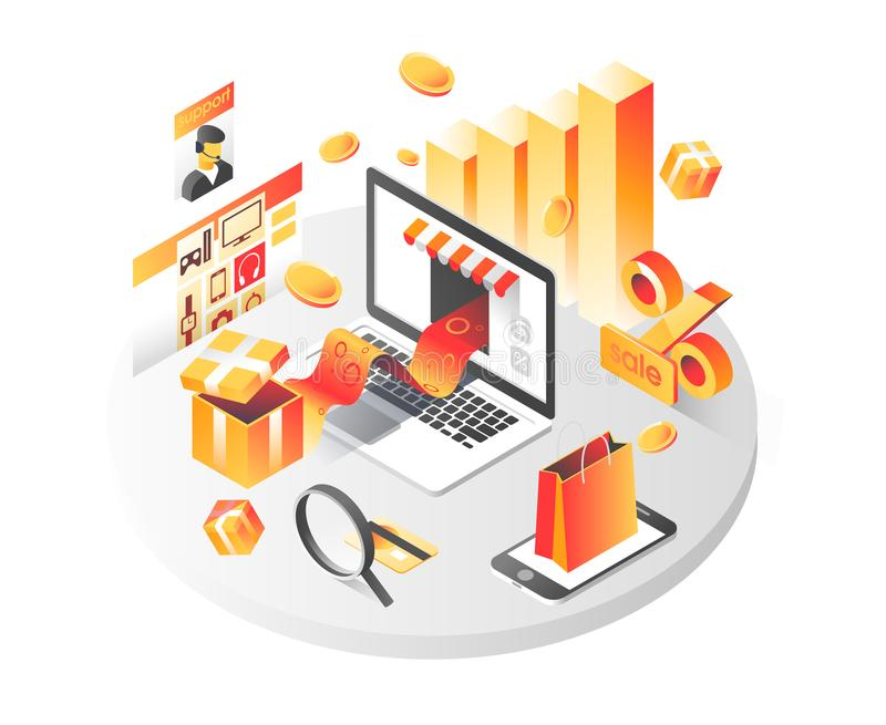 Online shopping isometric shadow illustration with mobile phone, laptop, stores orders isolated vector illustration. Online shopping isometric shadow royalty free illustration